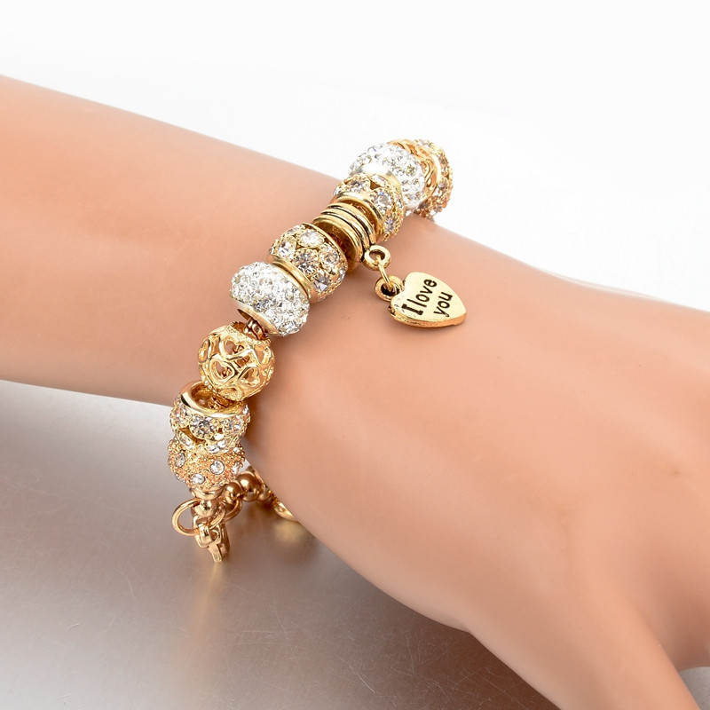 ATTRACTTO Hot Selling Heart Charm Bracelets&Bangles Gold Bracelets For Women Pulsera Famous Brand Jewellery Bracelet SBR150074
