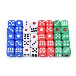 10 Uds de dados acrílicos d6, dados pequeños de juego de 6 lados para jugar juego blanco rojo verde azul 12*12*12mm