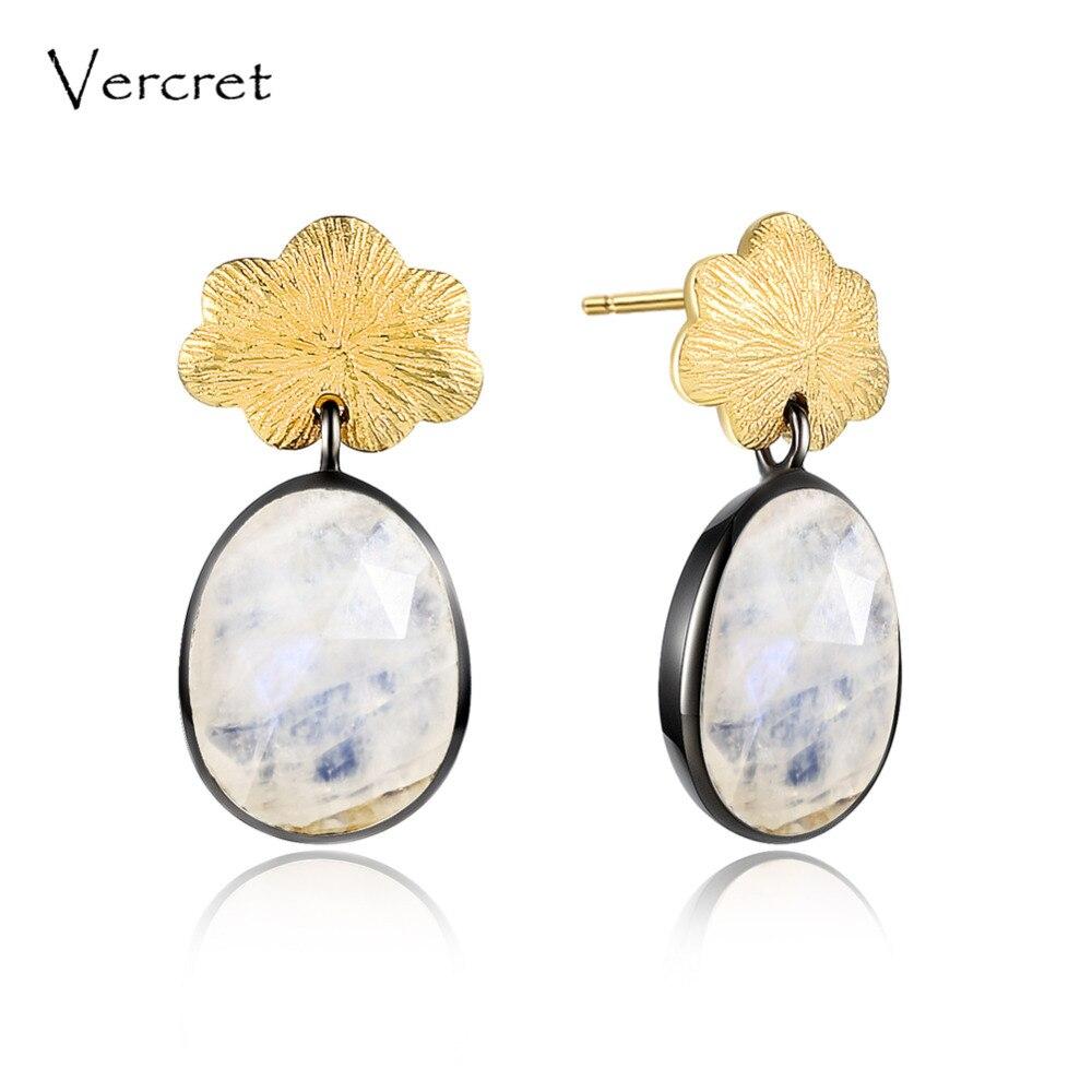 цена на Vercret moonstone drop earrings 925 sterling silver gemstone earrings with gold color flower design women gift sp presale