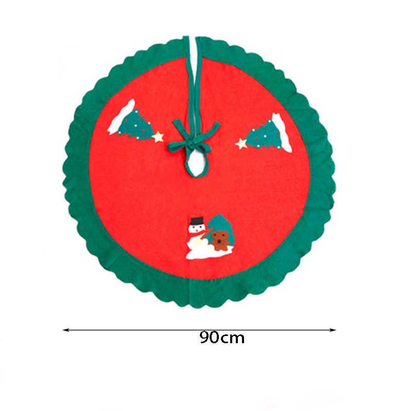 90 см новогодняя елка украшения юбка фартуки Санта Клаус узор зеленый волнистый край нетканые рождественские украшения для дома подарок NMR0008