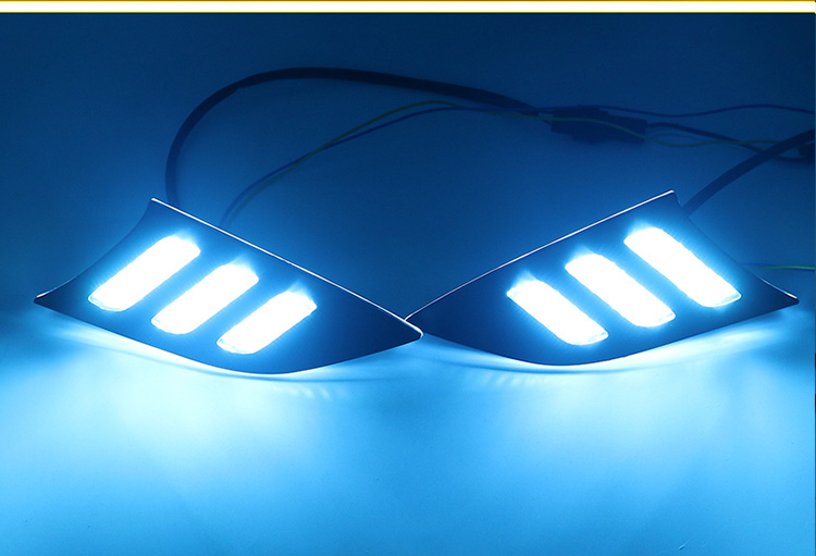 eOsuns led drl daytime running light for Kia K3 2013-2016 with Dynamic moving yellow turn signal and blue night running light osmrk led drl daytime running light top quality with yellow turn signal and blue night light for kia kx cross wireless control