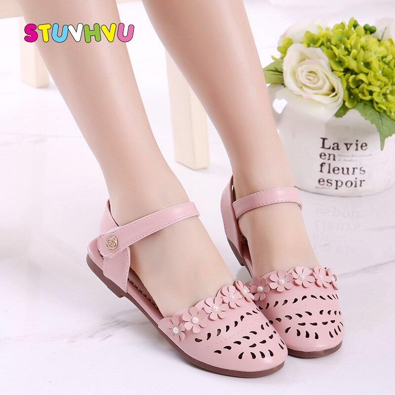 Summer New Girls Sandals Flowers Princess Shoes Kids Hollow Baotou Baby Toddler Sandals Children's Beach Shoes Girls Shoes