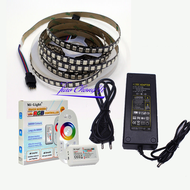 5M 12V 5050 120LED/M RGB LED Flexible Strip Light+2.4G RGB controller+LED power good group diy kit led display include p8 smd3in1 30pcs led modules 1 pcs rgb led controller 4 pcs led power supply