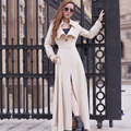 2015 New Arrival Spring Autumn Women Trench Coat Long Outwear Plus Size Slim long trench overcoat for Women windbreaker