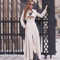 2017 Fashion Spring Autumn Women Trench Coat Long Outwear Plus Size Slim Solid Color Slim overcoat Single-breasted windbreaker