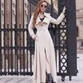 2017 Moda Primavera Outono Mulheres Trench Coat Longa Outwear Plus Size Fino Cor Sólida Fino casaco Single-breasted blusão