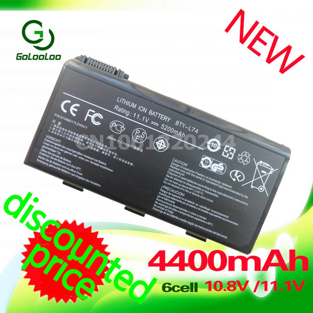 Golooloo 4400mAh laptop battery For MSI  BTY-L74 91NMS17LD4SU1 91NMS17LF6SU1 957-173XXP-101 957-173XXP-102 BTY-L75  MS-1682