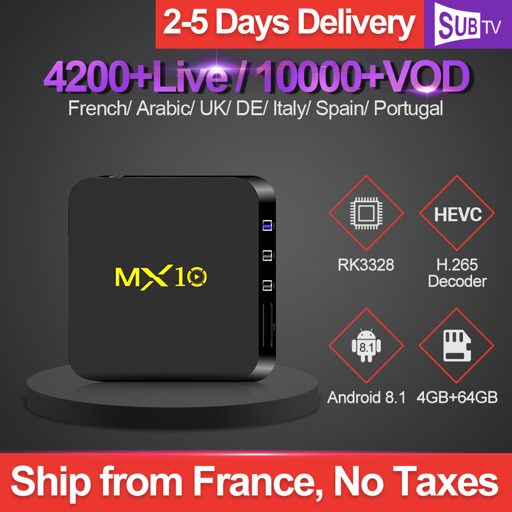 4K IPTV France Subscription 1 Year SUBTV Code MX10 4G 64G Android 8 1 TV Box