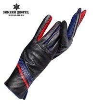 Nieuwe Mode Lederen Handschoenen, Echt Leer, Katoen, Volwassen, Zwart, Lederen Handschoenen Voor Vrouwen, winter Handschoenen Vrouwen, Gratis Verzending