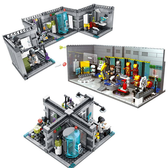 Iron Man Lab Marvel Avengers Super Heroes Monster Fighters Building Block SD9606 SY305Figure Brick Toy LegoINGlys 76018 21304