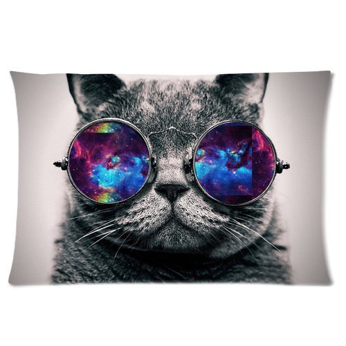 CHARMHOME Galaxy Hipster Cat Theme Funny Cat Wear Color Sunglasses Soft Polyester Rectangle Pillowcase Pillow Case Covers