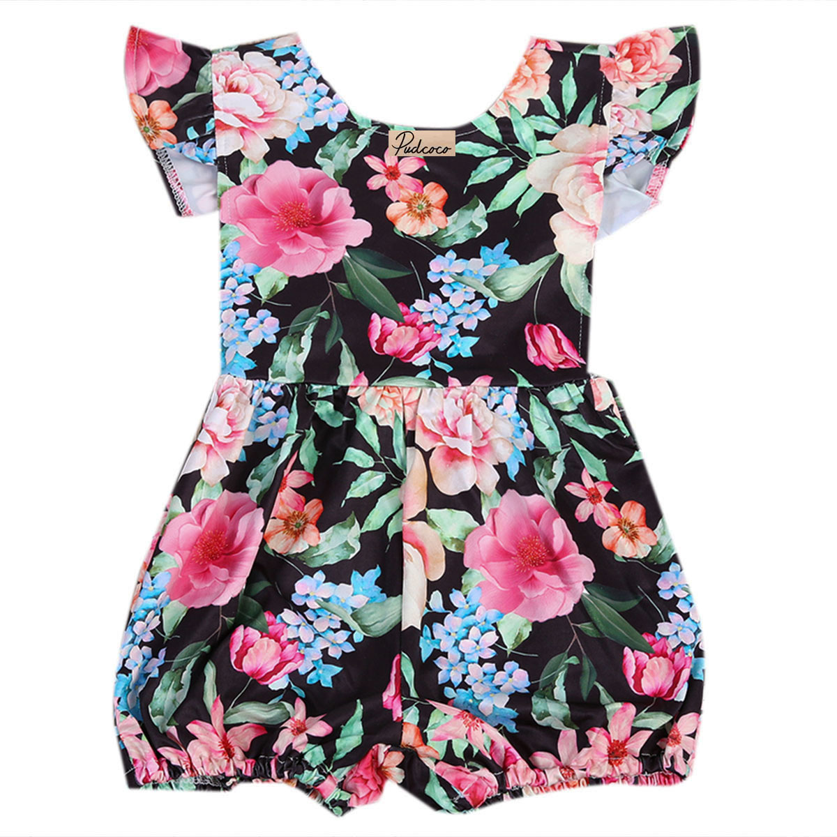 One-Pieces Cute Newborn Infant Baby Girls Sleeveless Black Floral Romper Outfits Summer Sunsuit Clothes pudcoco newborn infant baby girls clothes short sleeve floral romper headband summer cute cotton one piece clothes
