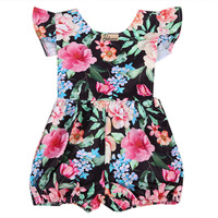 One Pieces Cute Newborn Infant Baby Girls Sleeveless Black Floral Romper Outfits Summer Sunsuit Clothes