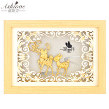 Asklove Gold Deer Painting Poster 24K Gold foil painting Maternal love Wall art picture Gifts Decorative wall hanging pictures(China)