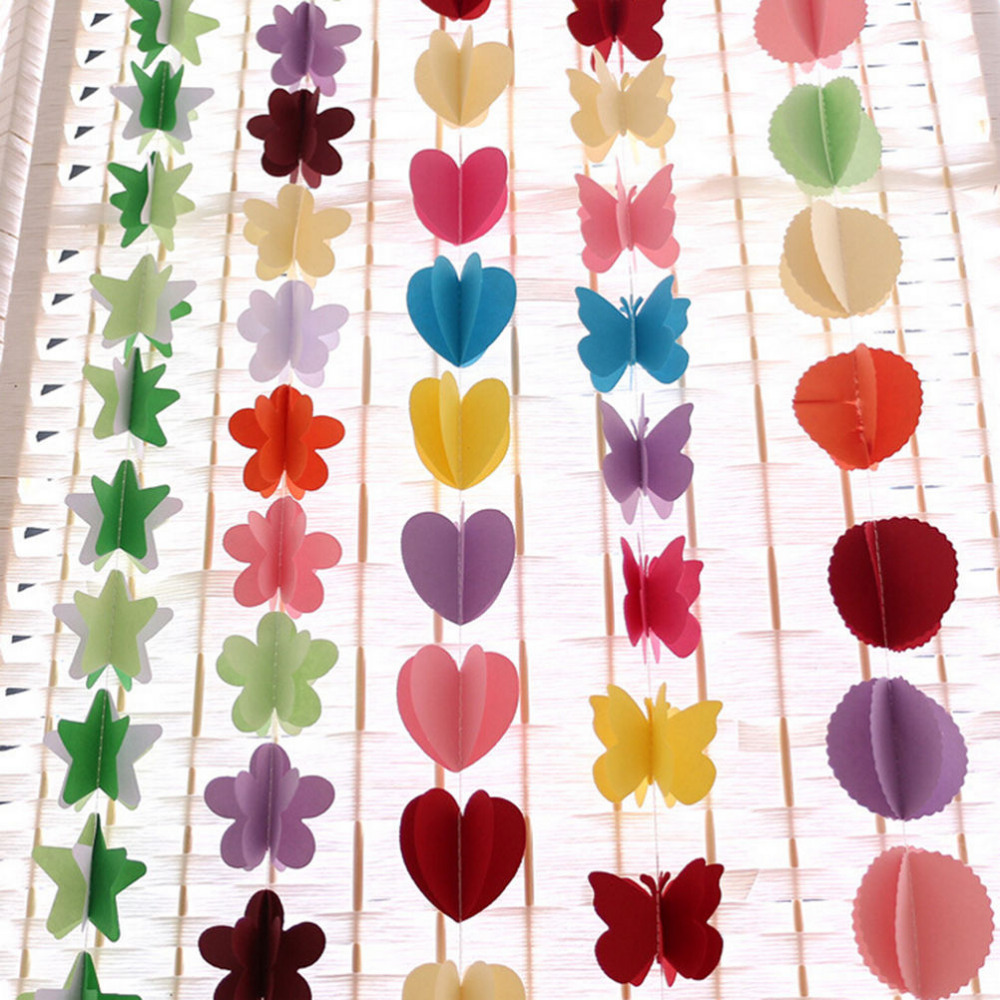 170cm Colorful Star Heart Round Flower Butterfly Shape Hanging Paper Garlands Flora String Party Birthday Decoration