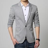 Mens Korean Slim Fit Fashion Cotton Blazer Suit Jacket Black Blue Beige Plus Size M To