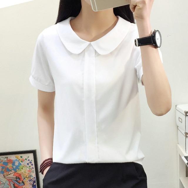 BIBOYAMALL блузки Для женщин летние Для женщин топы Короткий рукав Повседневное Шифоновая блузка женская Повседневная обувь однотонные белые офисные рубашки