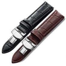 Genuine Leather Watch Band Croco Strap With Depolyant Buckle 14-24mm Men Women for any watches