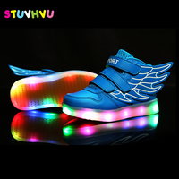 2017 Brand Children USB Charge Kids LED Light Shoes Colorful Luminous Sneakers Night Flash Sports Boys