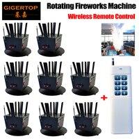 Gigertop TP-T12B 6 헤드 회전 불꽃 콘솔 기계 무선 원격 제어 웨딩/파티/춤