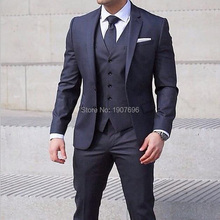 Navy Blue Business Men Suits for Wedding Tuxedos Notched Lapel Three Piece Latest Style Jacket Pants Vest Tailor Made Blazer