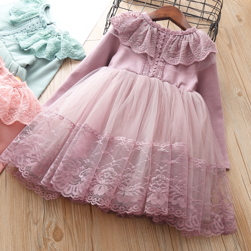 Little girls Clothes Autumn baby dress For Girl Kids 3 4 5 6 7 years birthday Lace Cute party Tutu Dresses Toddler princess wear little girl lace dress white baby girls princess dresses 2018 cute cotton kids summer clothes for size age 2 3 4 5 6 7 8 years