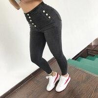 الجينز النسائية عالية الخصر بسط مطاطا سروال رصاص نحيل الدينيم طويل زائد الحجم المرأة جينز camisa الأنثوية سيدة الدهون ترو