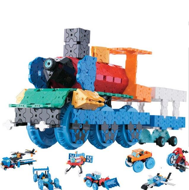 Criativo tecnologia vapor brinquedos blocos 3d tijolos de construção 8 em 1 carro diy kit alunos invenções artesanais experimentos brinquedos vapor