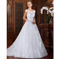 Brazilan Vestidos De Novias Scoop Appliqued Lace Short Sleeve Sheer Back Sweep Train Wedding Dresses