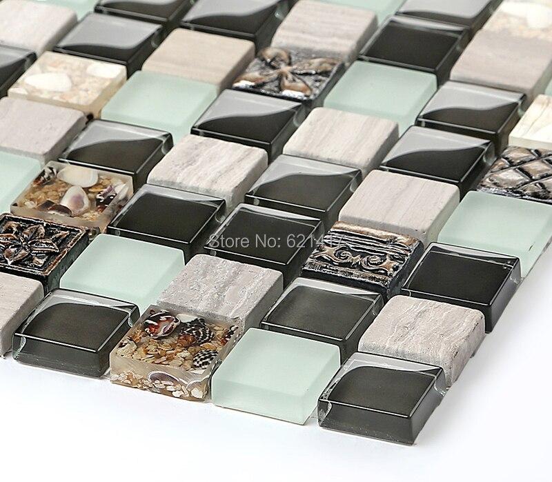 Schwarz Kristall Glas Retro Galvanisieren Shell Mosaik Fliesen HMGM1109 Backsplash  Küche Wandfliese Aufkleber Badezimmer Bodenfliese