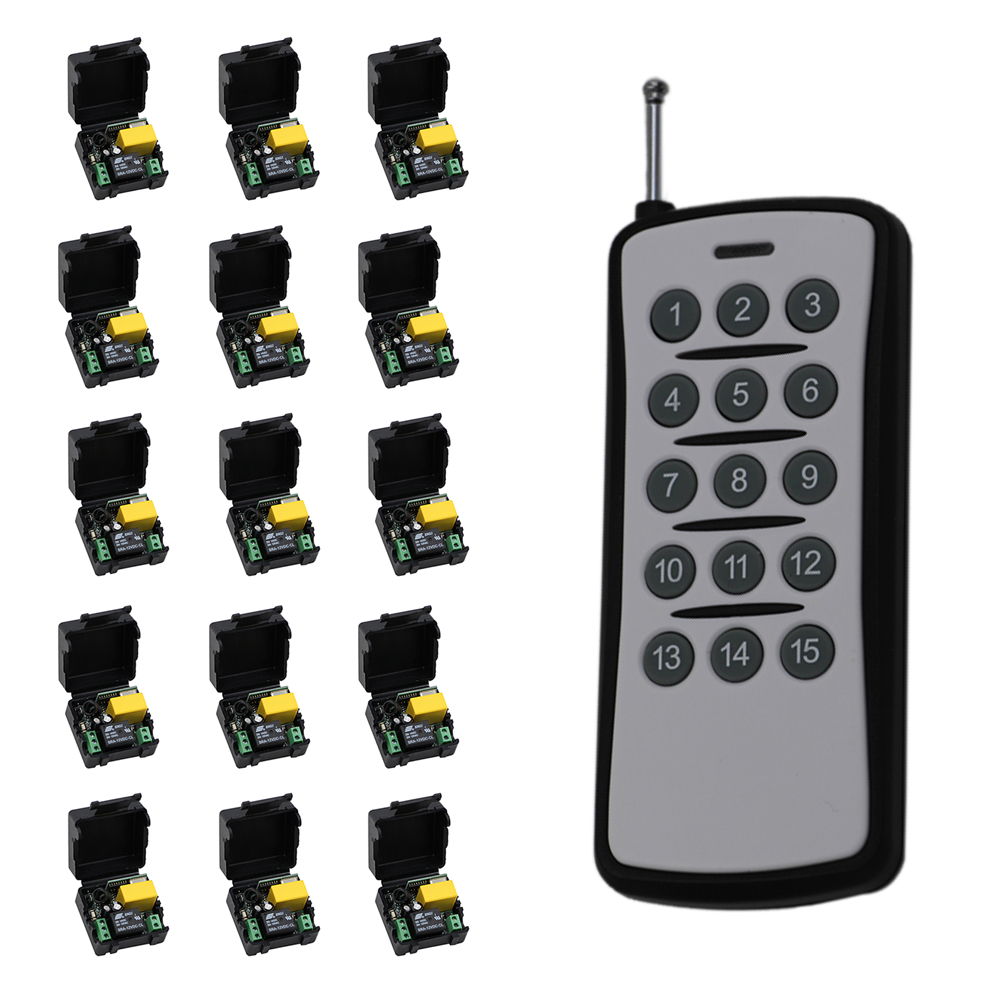 500m Mini Size AC 220V 1CH RF Wireless Remote Control Switch Relay 15pcs Receiver +1pcs 15CH Transmitter High Quality 110v 220v remote relay control switch 15ch receiver
