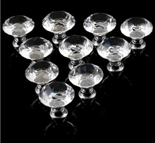 10pcs lot 30mm Diamond Crystal Glass Door Drawer Cabinet Furniture Handle Knob With Screw
