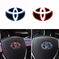 1*Car Styling New Fashion Steering Wheel Logo Badge Emblems Sticker Cover Rubber For Toyota Highland Camry Corolla RAV4 Prius