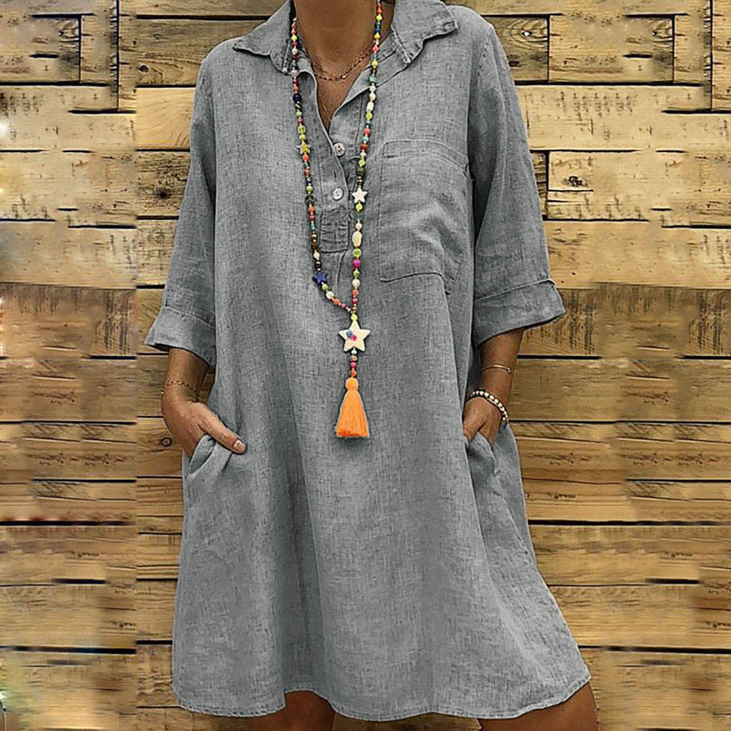 HTB1XMUcbiHrK1Rjy0Flq6AsaFXa4 Large Plus Size !!Best Sale 2019 Women's Solid Boho Turn-down Collar Dress 3/4 Sleeve Casual Pocket Button Dress Vestido @6
