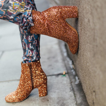 Orange Glitter Ankle Boots Round Toe Chunky High Square Heels Booties Large Size 13 14 Lady Winter Fashion Mature Sexy Shoes FSJ