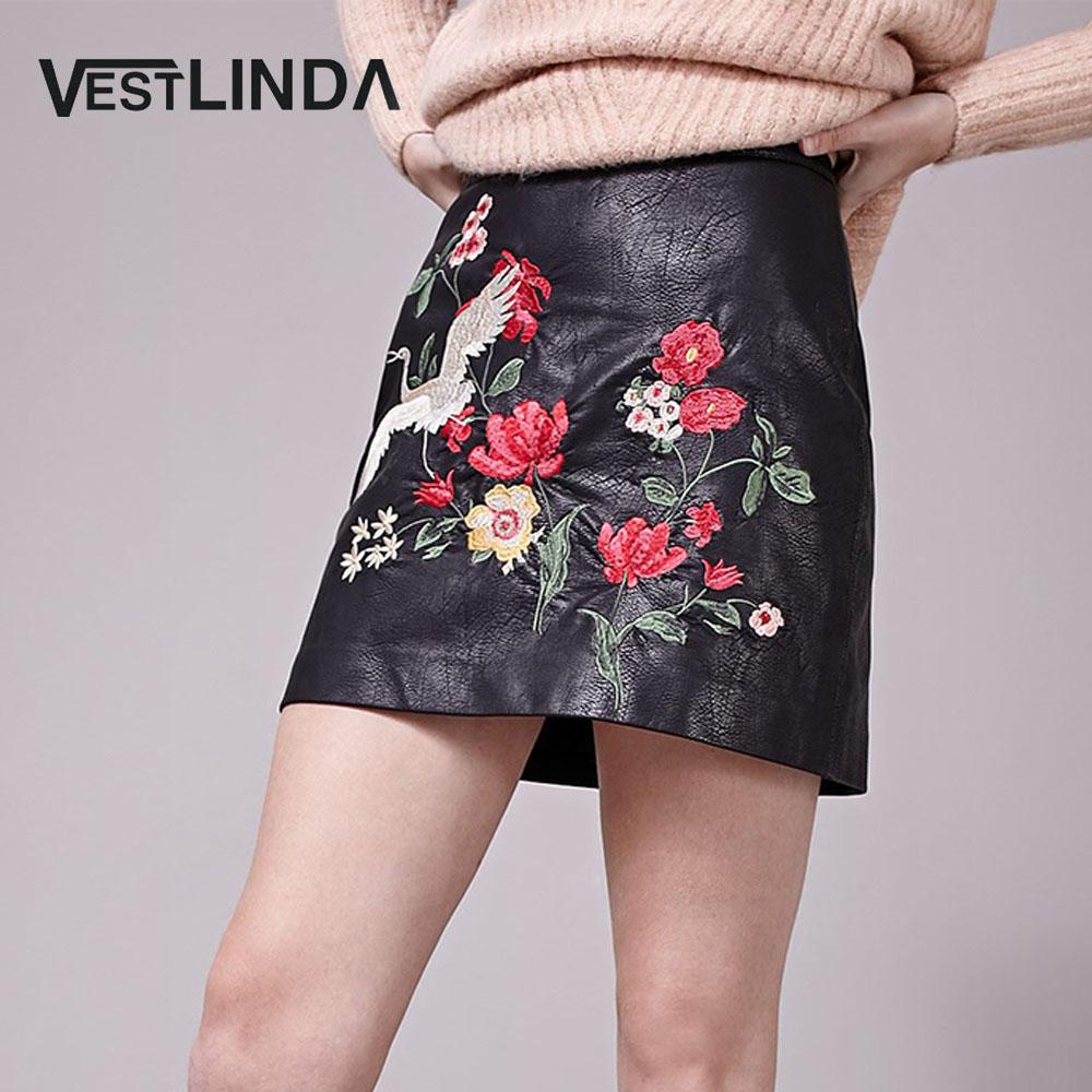VESTLINDA Black Skirt Floral Embroidery Vintage PU Pencil Skirt Women Slim High Waist Zipper Mini Ethic Plus Size Skirts
