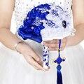 Viento chino azul celebración de boda Chino de flores de simulación manual de material de bricolaje propiedades FLOS nuptias