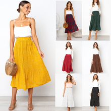 цена на 2019 Women Pleated Skirt High Quality Polka Dot Print Midi Skirt Pocket Yellow Green Girl Summer Autumn Skirt eDressU CLX-101082