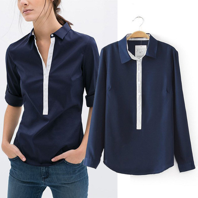 Za Brand Shirt Women's Turn-Down Collar Long Sleeve Blouse Casual Slim Patchwork Shirt Ropa Mujer