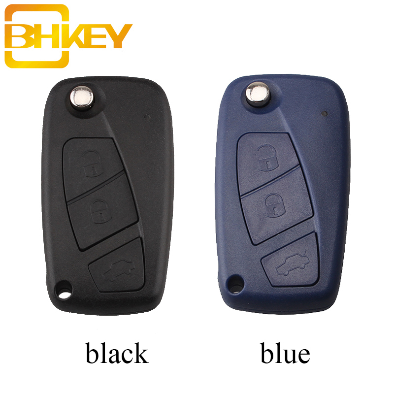 BHKEY 3Buttons Remote Key Shell For Fiat 500 Panda Idea Punto Stilo Ducato Uncut SIP22 Blade Blank Replacement Fob Cove(China)