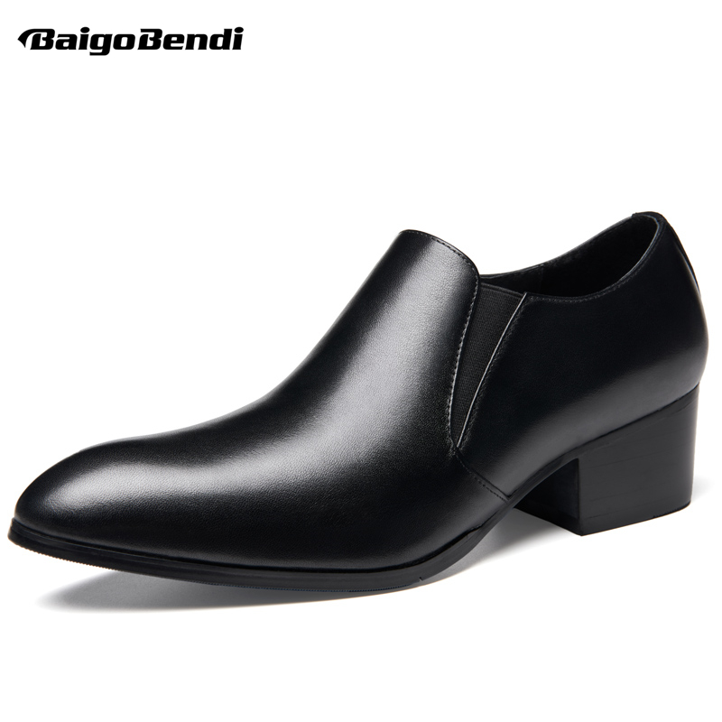 Hight End Mens Slip On Thick Heel High Heel Shoes Business Man Spring Autumn Pointed Toe Formal Dress Shoes Oxfords hight end full grain leather men lace up high heel shoes man thick heel black formal dress height increasing heighten shoes