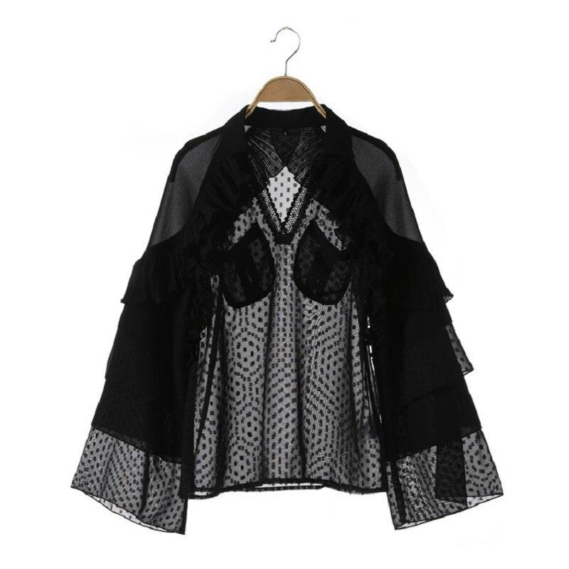Piste Designer bureau dame à pois blouses femmes élégant mignon volants chemises flare manches top dames blusas noir