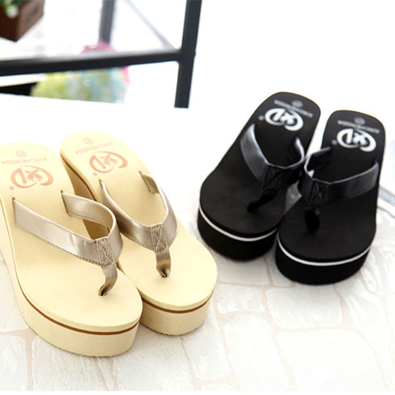 women shoes Flip Flops Woman Summer slippers Bohemian Muffin Slope With slippers Beach Shoes pantufa zapatillas tongs femme ete lanshulan bling glitters slippers 2017 summer flip flops platform shoes woman creepers slip on flats casual wedges gold