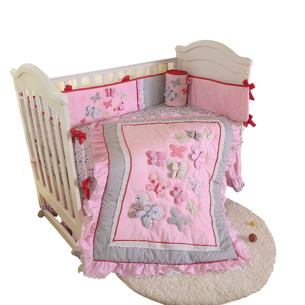 High Quality 3D Applique Pink Butterfly Textile Baby Bedding Sets For Girl-comforter,crib Sheet,crib Skirt,bumpers