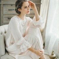 2018 Royal Court Lace Cotton Nightgown Princess Long Sleeve Nightdress Ladies Sleepwear White Women's Nightwear