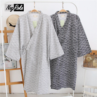 New Simple Japanese Kimono Robes Men Spring Long Sleeved 100 Cotton Bathrobe Fashion Casual Waves Dressing