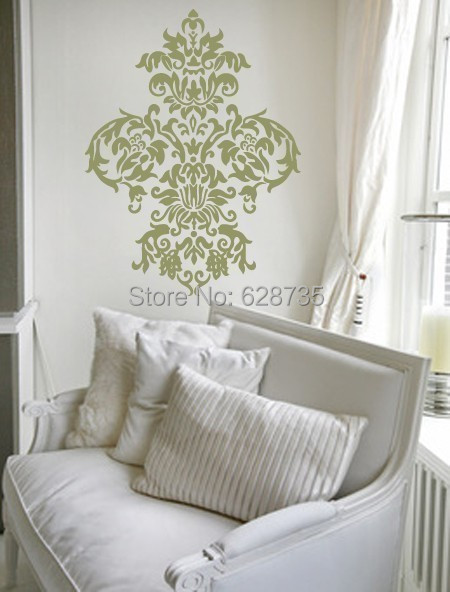 free shipping large damask vinyl wall decal art baroque sticker home decor graphic t3024