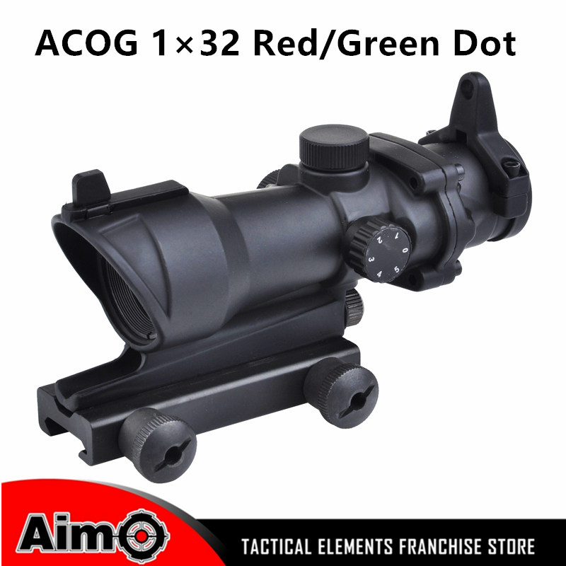 ФОТО Aim Sight ACOG Type 1x32 Red&Green Dot Sight Scope Without Markings With QD Mount 20MM Rail for Airsoft Game Rifle Scope AO 5015