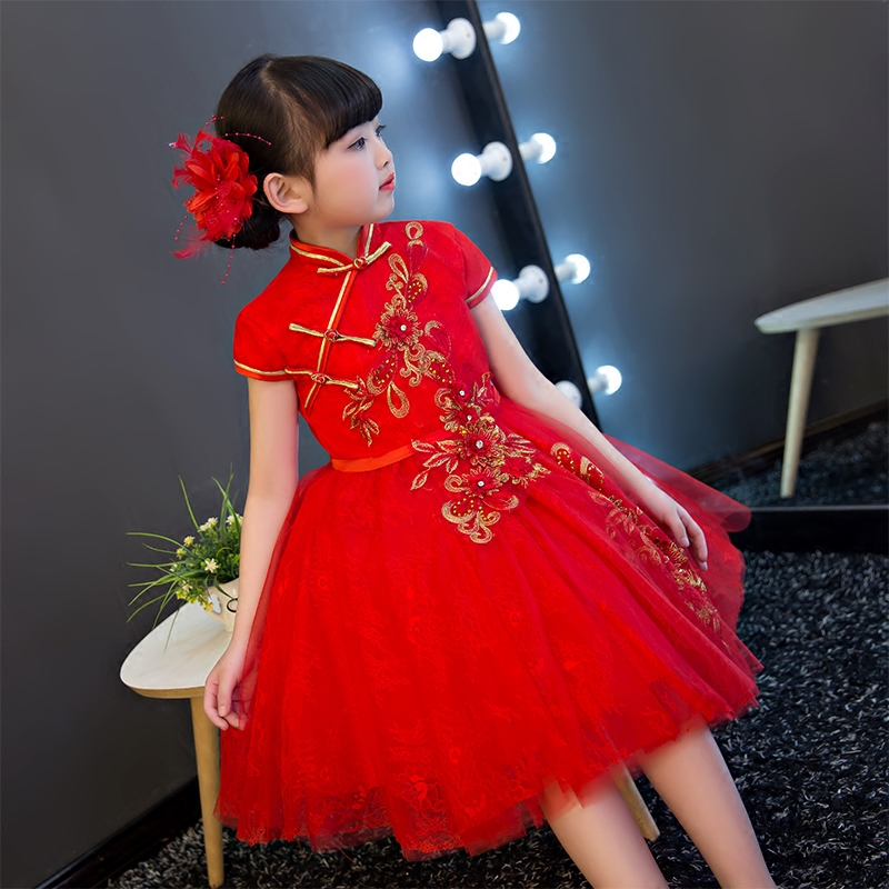 2017New Chinese Traditional Baby Girls Chi-Pao Cheongsam Red Dress New Year Gift Children Clothes Kids Embroidery Party Dresses sexy lace spliced off the shoulder long sleeve dress for women