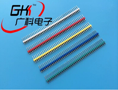 50pcs/lot 2.54mm Green + White + Red + Yellow + Blue Single Row Male 1X40 1*40 Pin Header Strip